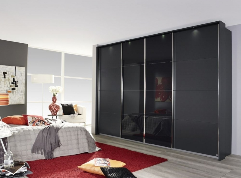 Rauch Syncrono 4 Door Sliding Wardrobe in Metallic Grey and Basalt Glass - W 361cm