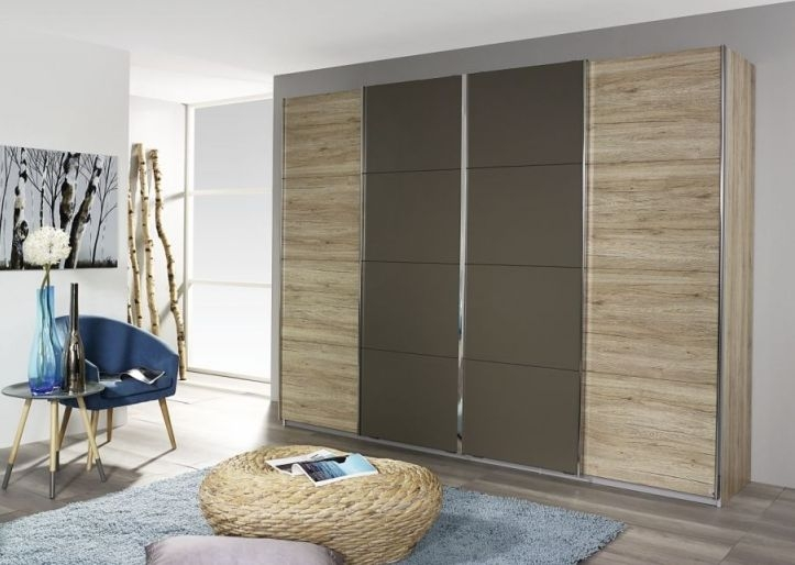 Rauch Syncrono 4 Door Sliding Wardrobe in Oak and Lava Grey - W 316cm