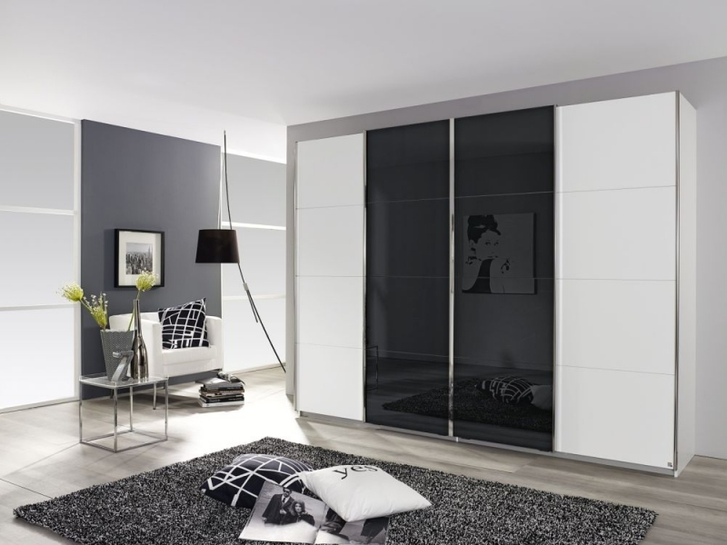 Rauch Syncrono 4 Door Sliding Wardrobe in White and Black Glass - W 361cm