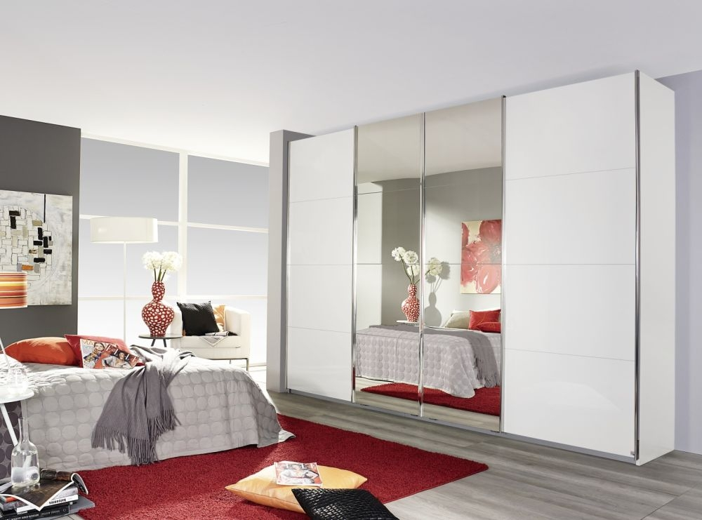 Rauch Syncrono 4 Mirror Door Sliding Wardrobe in Alpine White with Chrome  Handle Strips - W 271cm