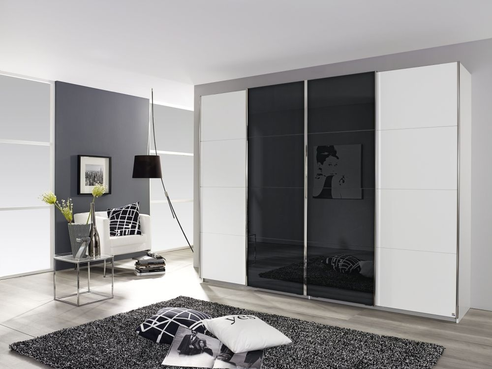 Rauch Syncrono Alpine White with Basalt Glass 4 Door Sliding Wardrobe with Aluminium Handle Strips - W 271cm