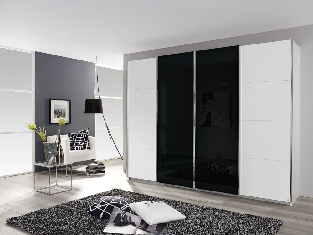 Rauch Syncrono Alpine White with Black Glass 4 Door 2 Mirror Sliding Wardrobe with Aluminium Handle Strips - W 271cm