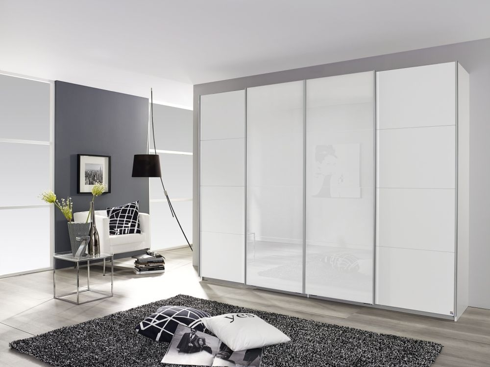Rauch Syncrono Alpine White with High Gloss White 4 Door Sliding Wardrobe with Chrome Handle Strips - W 271cm