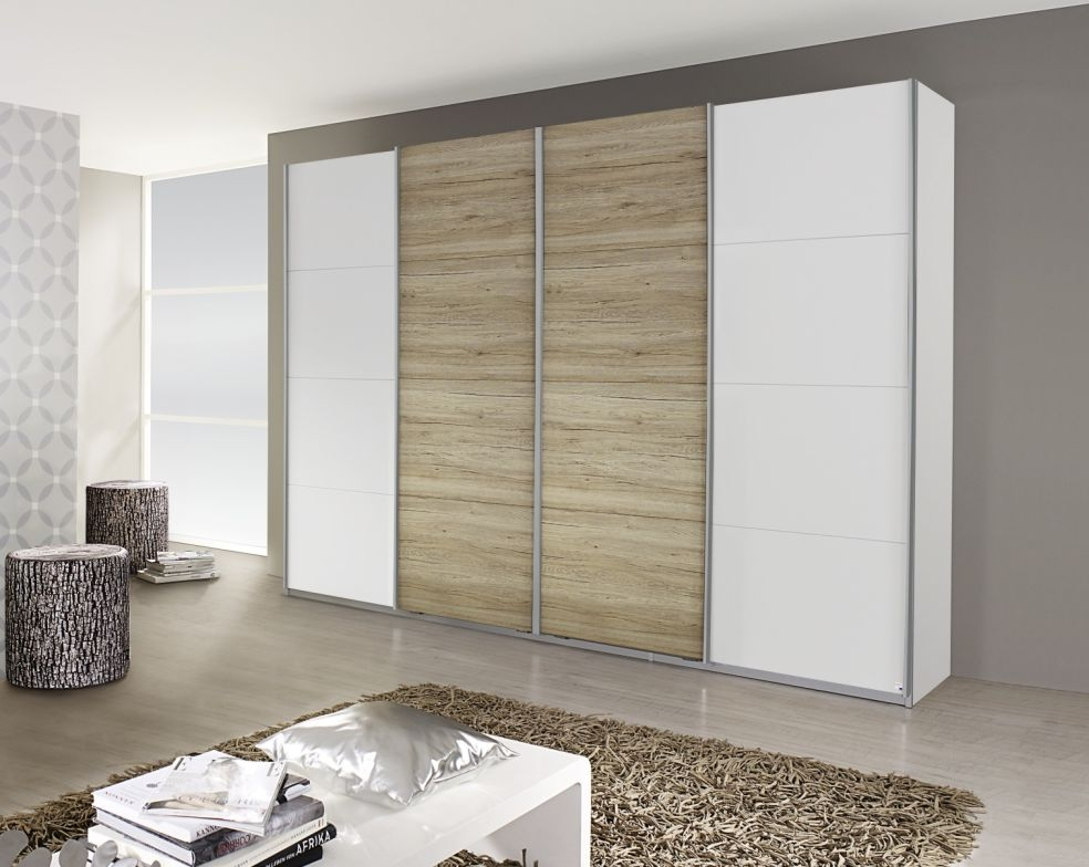 Rauch Syncrono Alpine White with Sanremo Oak Light 4 Door 2 Mirror Sliding Wardrobe with Aluminium Handle Strips - W 271cm