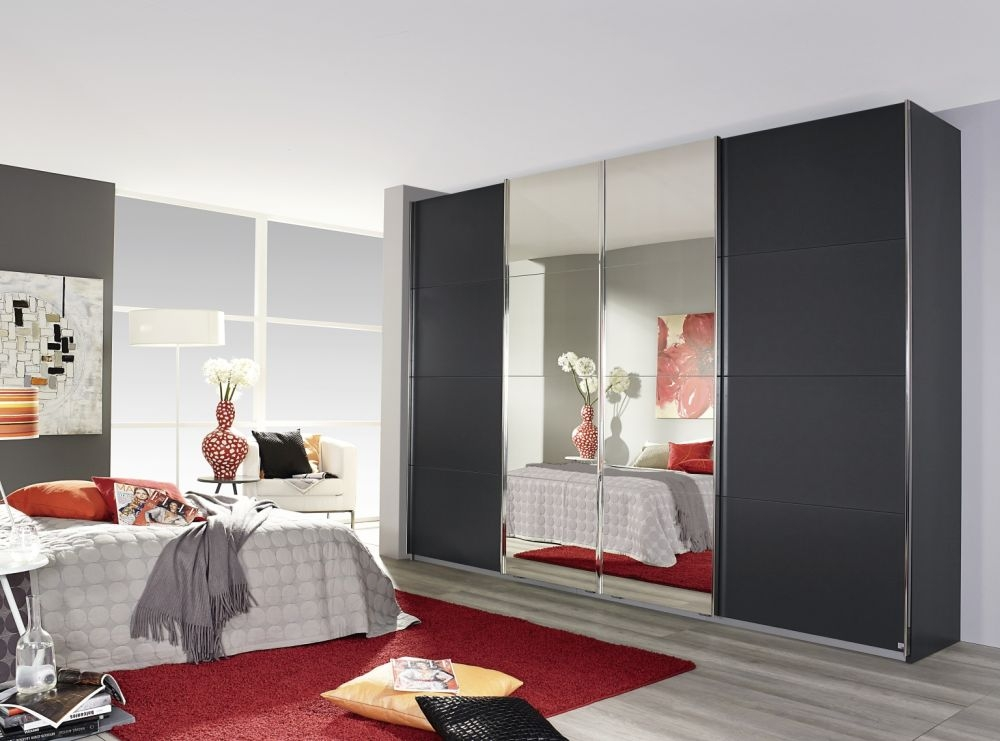 Rauch Syncrono Metallic Grey 4 Door 2 Mirror Sliding Wardrobe with Aluminium Handle Strips - W 271cm