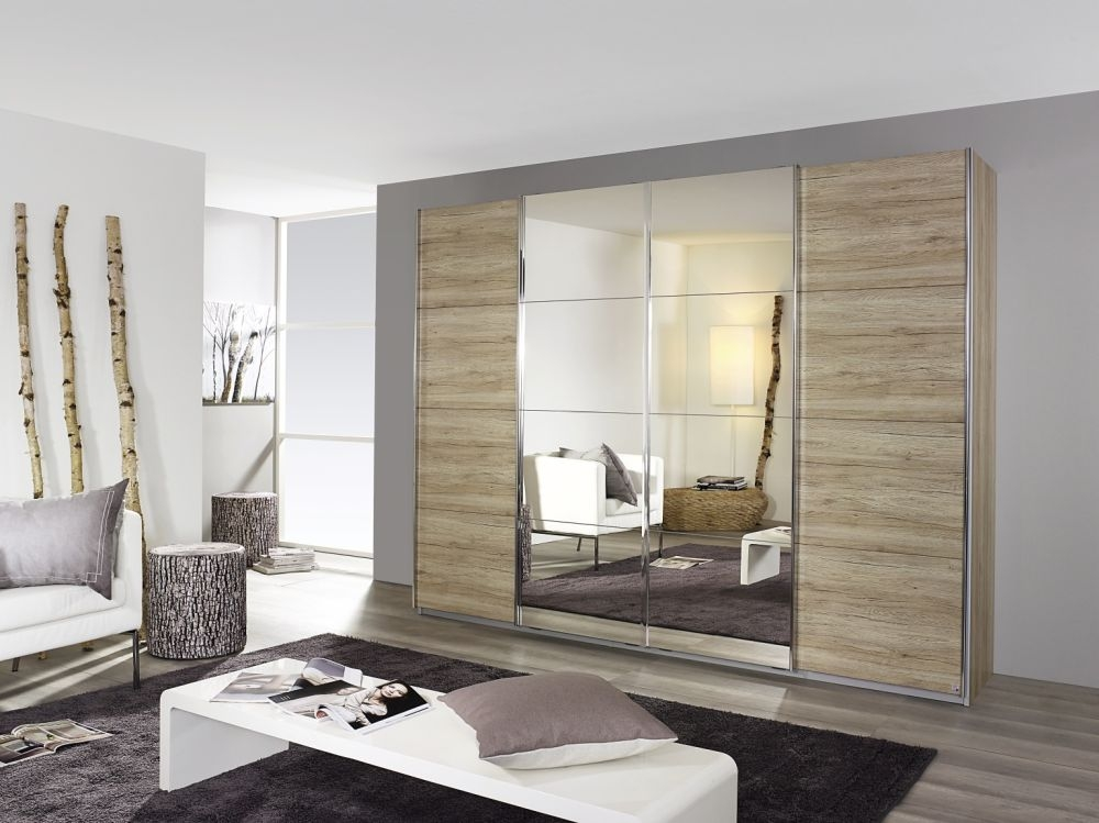Rauch Syncrono Sanermo Oak Light 4 Door 2 Mirror Sliding Wardrobe with Aluminium Handle Strips - W 271cm