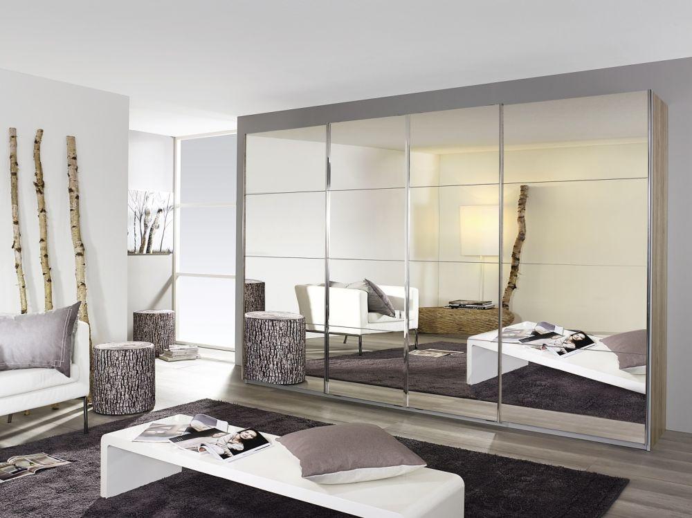 Rauch Syncrono Sanermo Oak Light 4 Door Mirror Sliding Wardrobe with Aluminium Handle Strips - W 271cm