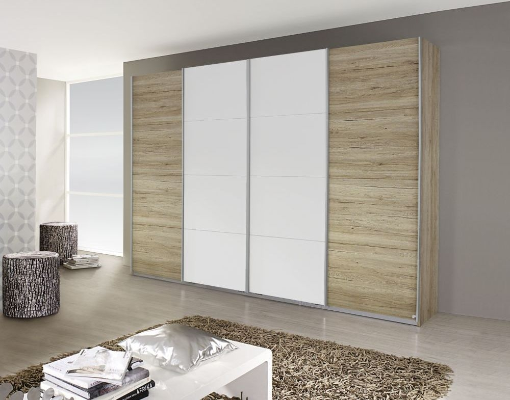 Rauch Syncrono Sanremo Oak Light with Alpine White 4 Door 2 Mirror Sliding Wardrobe with Chrome Handle Strips - W 271cm