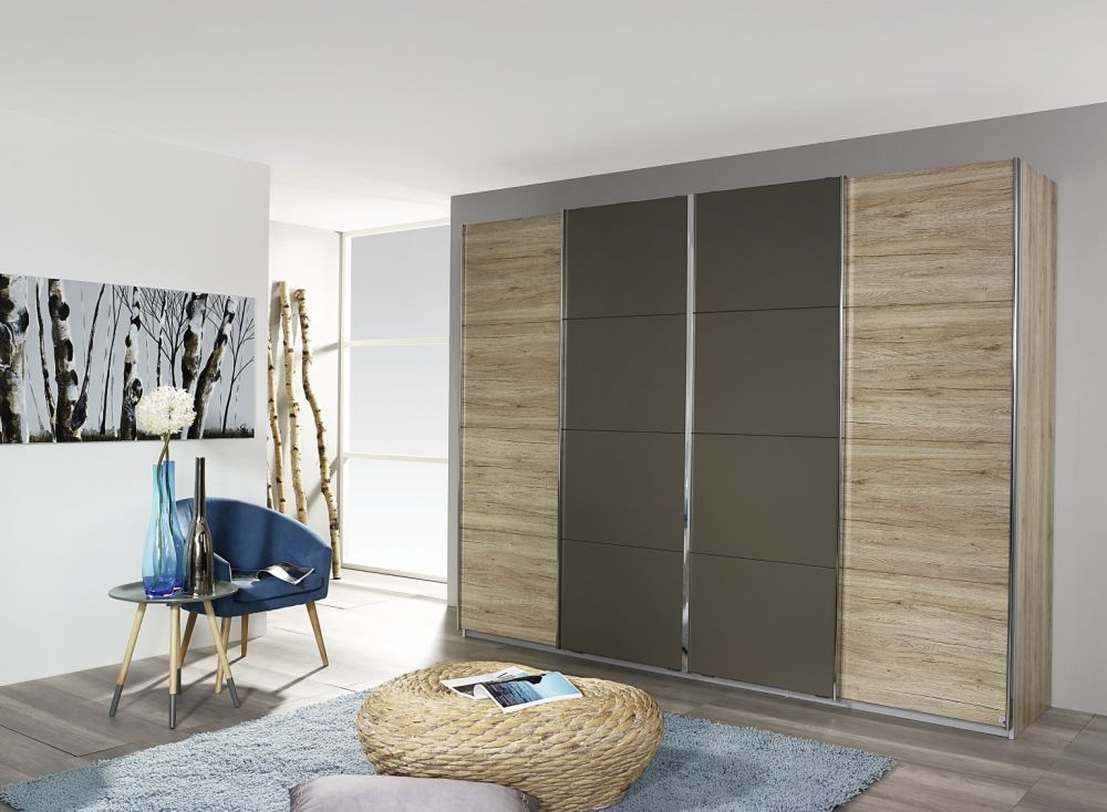 Rauch Syncrono Sanremo Oak Light with Lava Grey 4 Door 2 Mirror Sliding Wardrobe with Aluminium Handle Strips - W 271cm