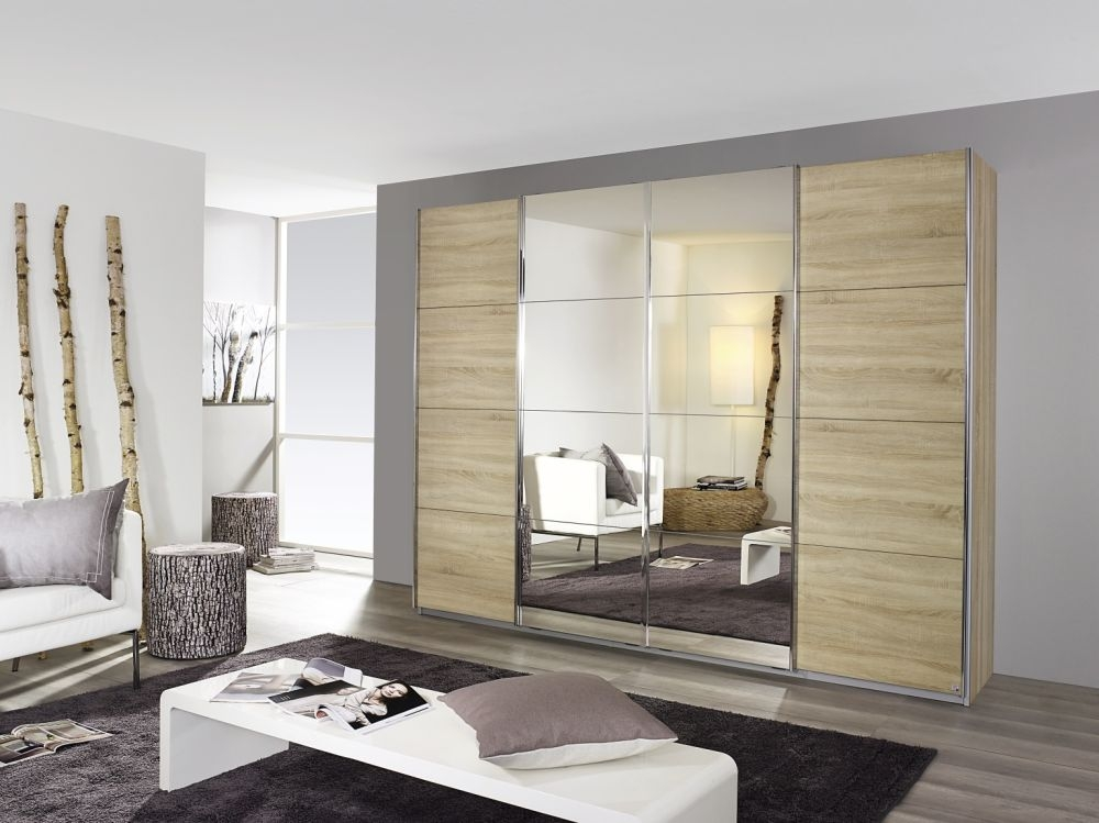 Rauch Syncrono 4 Door 2 Mirror Sliding Wardrobe in Sonoma Oak with Aluminium Handle Strips - W 271cm
