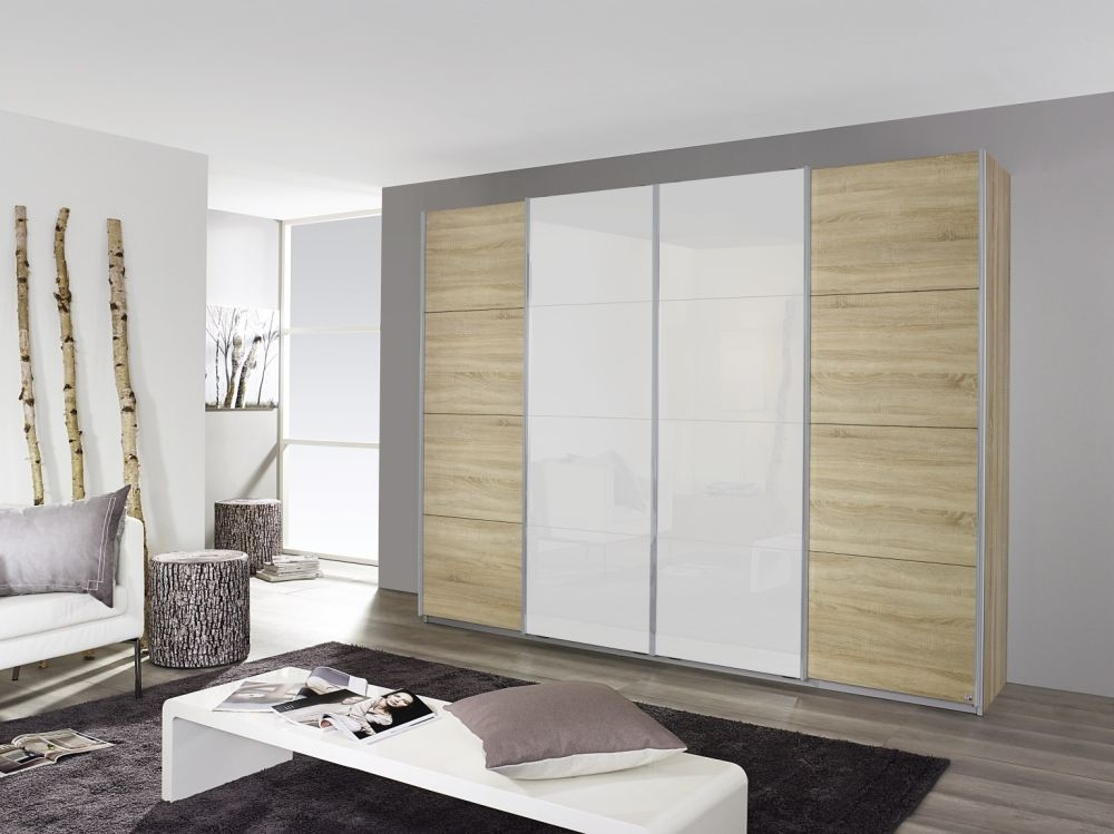 Rauch Syncrono Sonoma Oak with High Gloss White 4 Door 2 Mirror Sliding Wardrobe with Aluminium Handle Strips - W 271cm