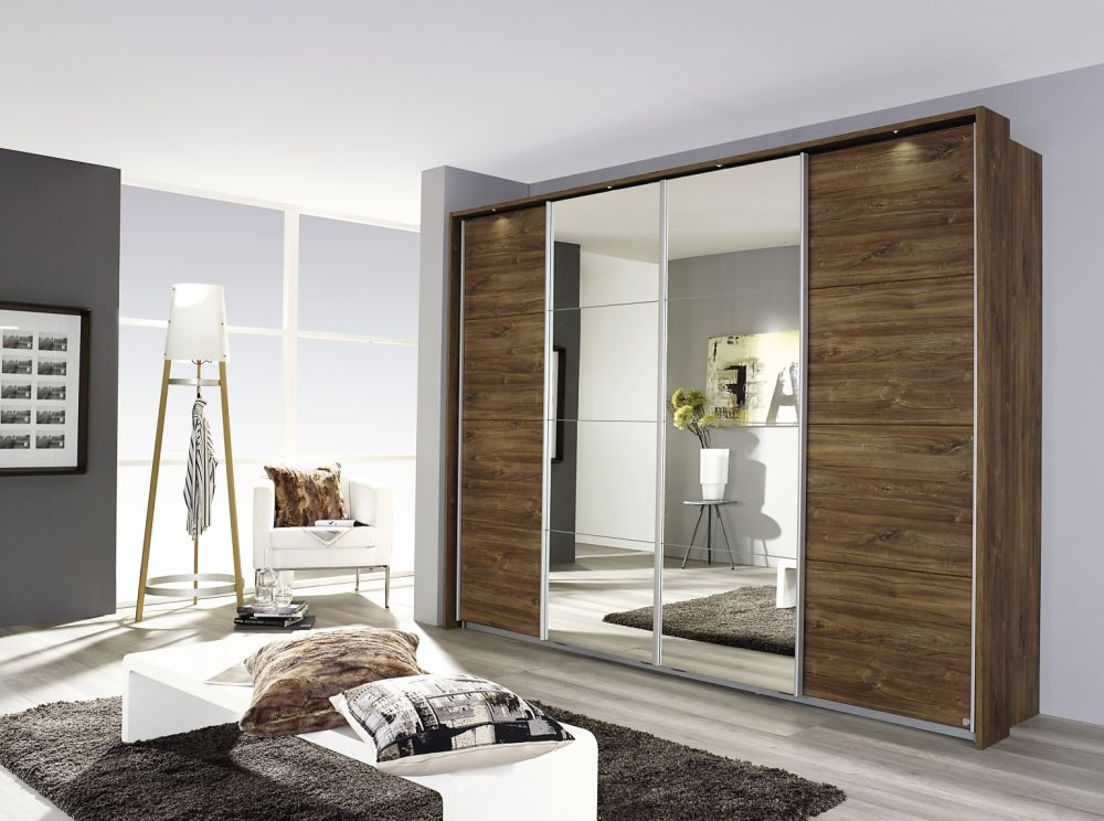 Rauch Syncrono Stirling Oak 4 Door 2 Mirror Sliding Wardrobe with Aluminium Handle Strips - W 271cm