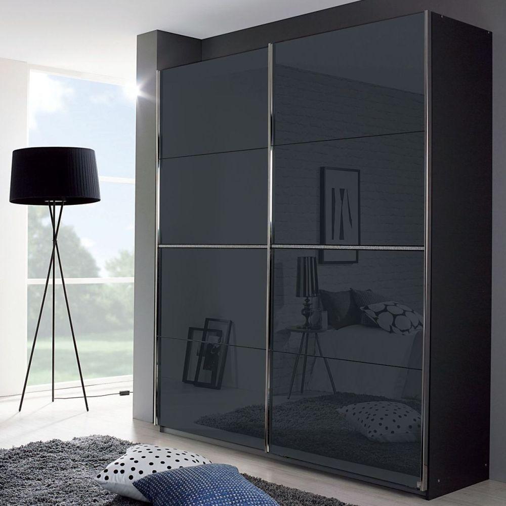 Rauch Talara Colour 2 Door Glass Sliding Wardrobe in Metallic Grey and Basalt with Chrome Handle Strip - W 181cm