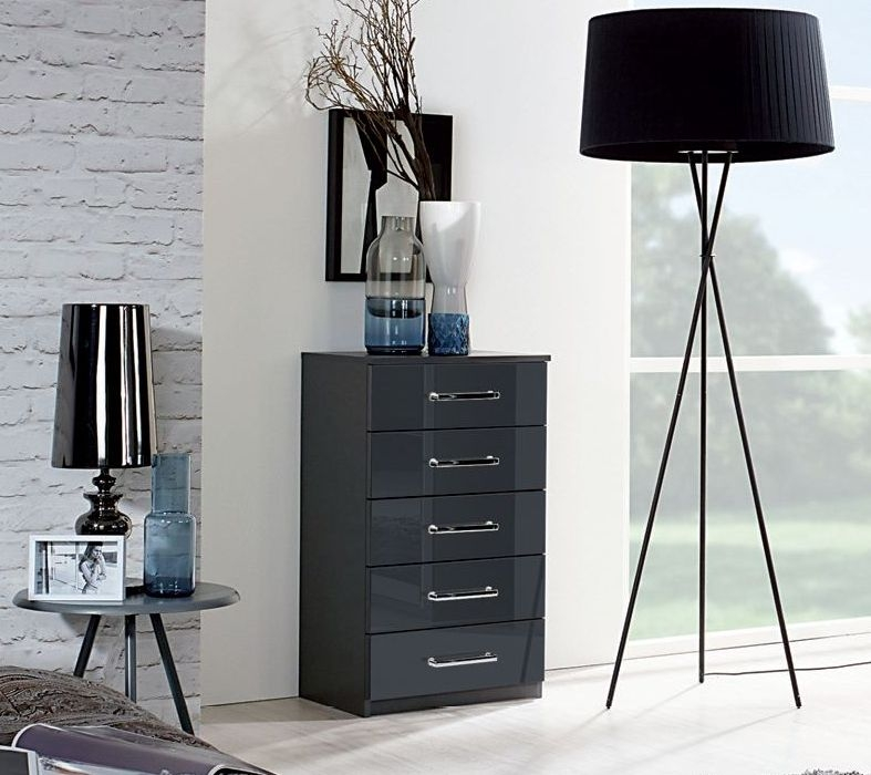 Rauch Talara Colour 5 Drawer Glass Chest in Metallic Grey and Basalt