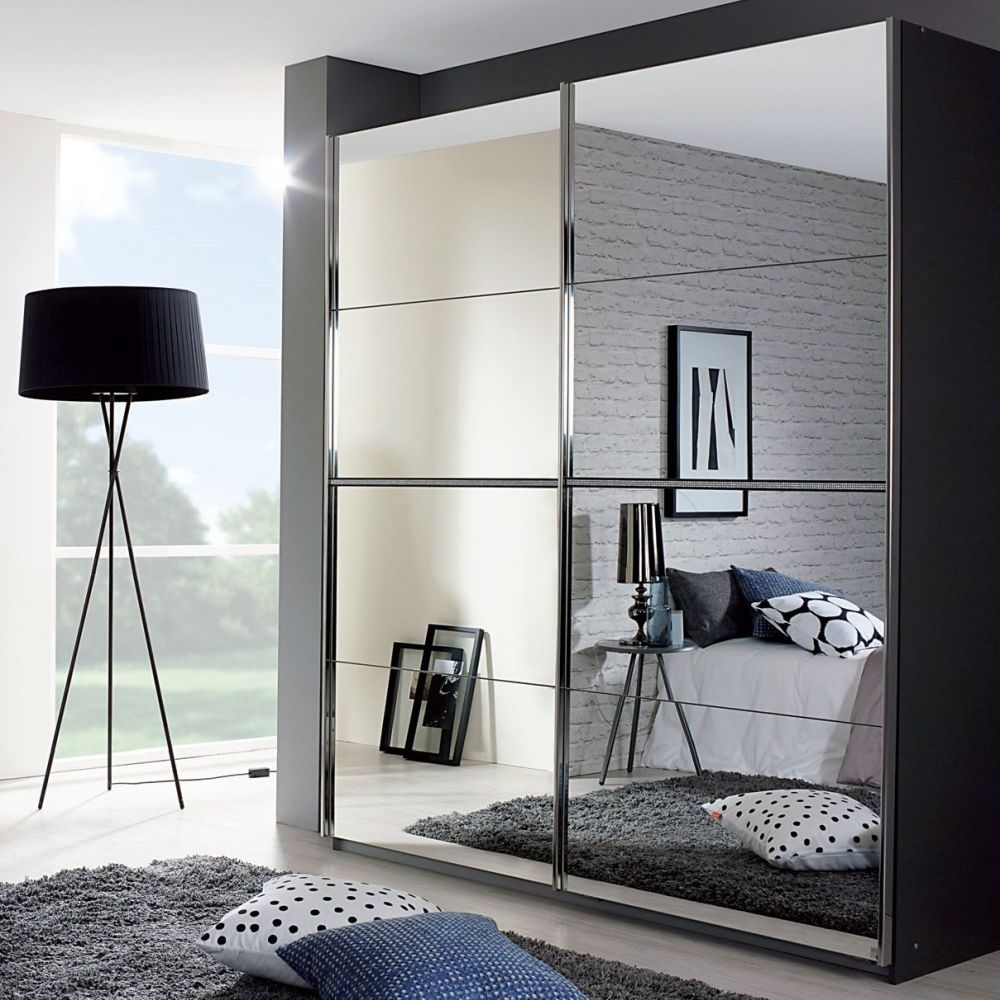 Rauch Talara Metallic Grey 2 Door 2 Mirror Sliding Wardrobe with Chrome Handle Strip - 181cm