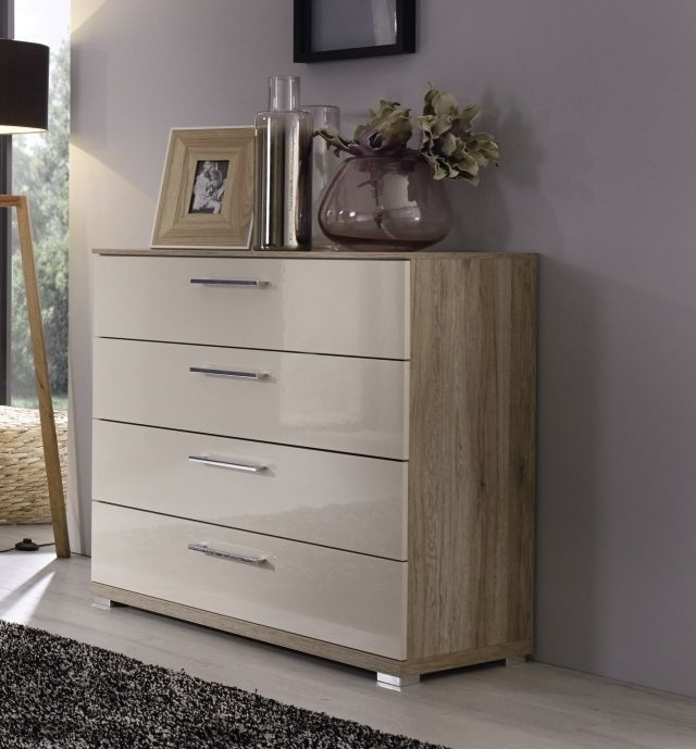 Rauch Talita 3 Drawer Chest in Sanremo Oak Light and High Gloss Cappuccino - W 96cm