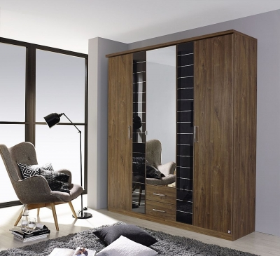 Rauch Terano 3 Door Combi Wardrobe in Oak and Basalt - W 181cm