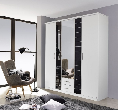 Rauch Terano 3 Door Combi Wardrobe in White and Basalt - W 181cm