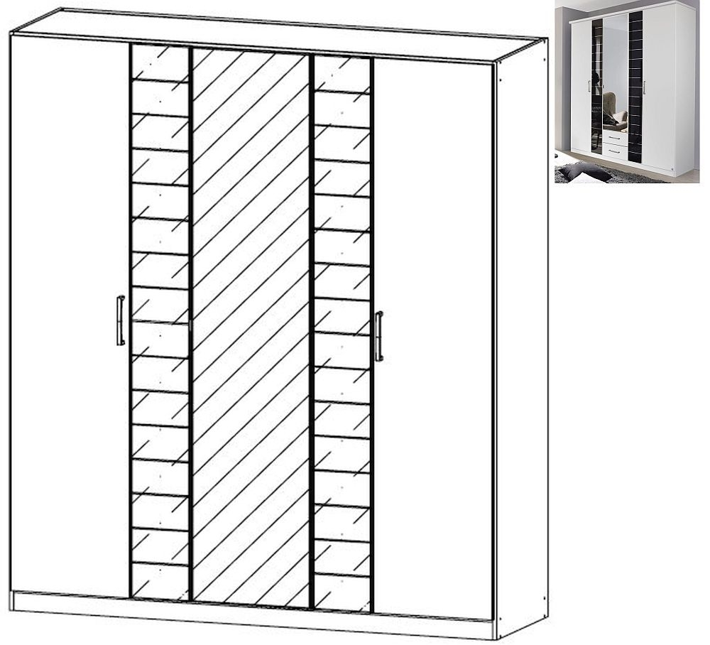 Rauch Terano 5 Door 2 Glass Door 1 Mirror Wardrobe with Cornice in Alpine White and Basalt Glass - W 181cm