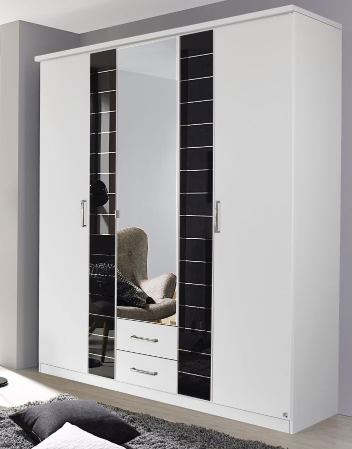 Rauch Terano 5 Door 2 Glass Door 2 Drawer 1 Mirror Combi Wardrobe with Cornice in Alpine White and Basalt Glass - W 181cm