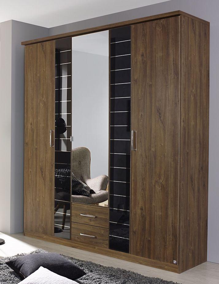 Rauch Terano 5 Door 2 Glass Door 2 Drawer 1 Mirror Combi Wardrobe with Cornice in Stirling Oak and Basalt Glass - W 181cm