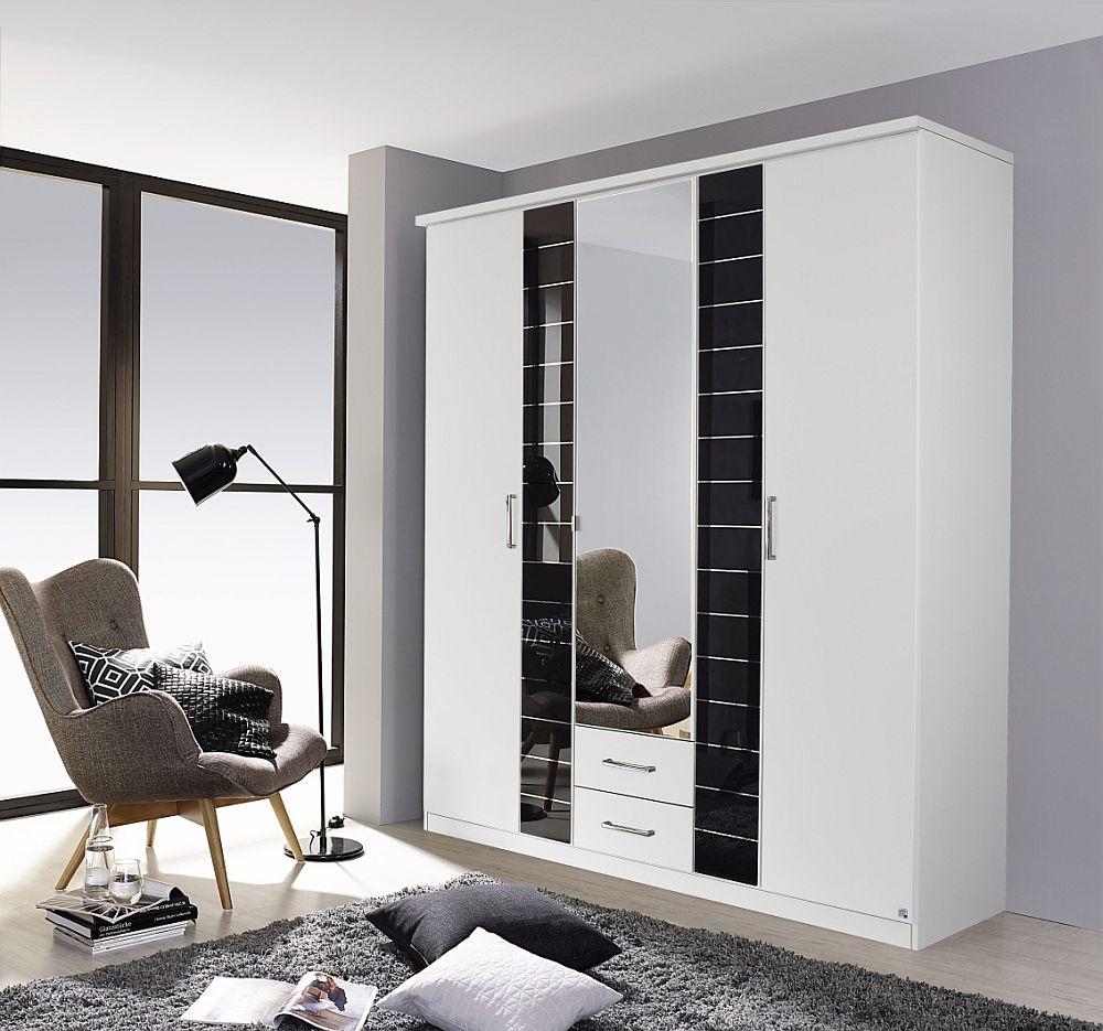 Rauch Terano 5 Door Combi Wardrobe in White and Basalt - W 181cm