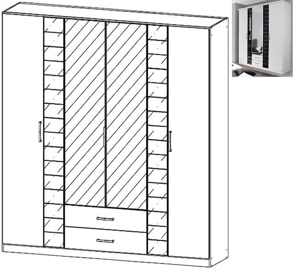 Rauch Terano 6 Door 2 Glass Door 2 Drawer 2 Mirror Combi Wardrobe with Cornice in Alpine White and Basalt Glass - W 226cm