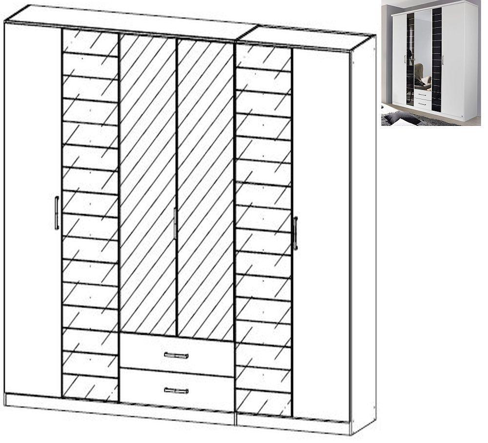 Rauch Terano 6 Door 2 Glass Door 2 Drawer 2 Mirror Combi Wardrobe with Cornice in Alpine White and Basalt Glass - W 271cm