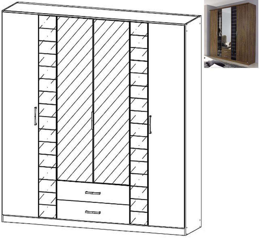 Rauch Terano 6 Door 2 Glass Door 2 Drawer 2 Mirror Combi Wardrobe with Cornice in Stirling Oak and Basalt Glass - W 226cm