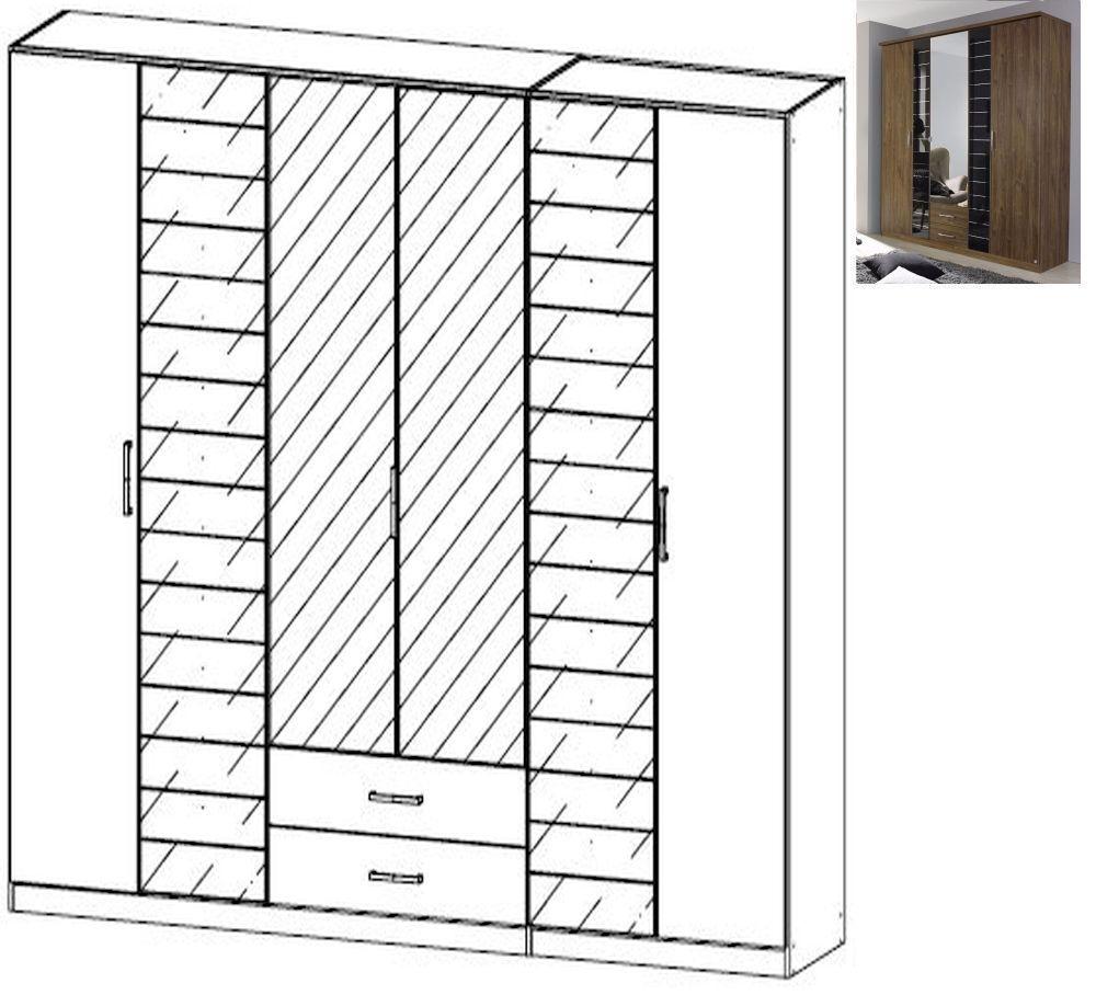 Rauch Terano 6 Door 2 Glass Door 2 Drawer 2 Mirror Combi Wardrobe with Cornice in Stirling Oak and Basalt Glass - W 271cm