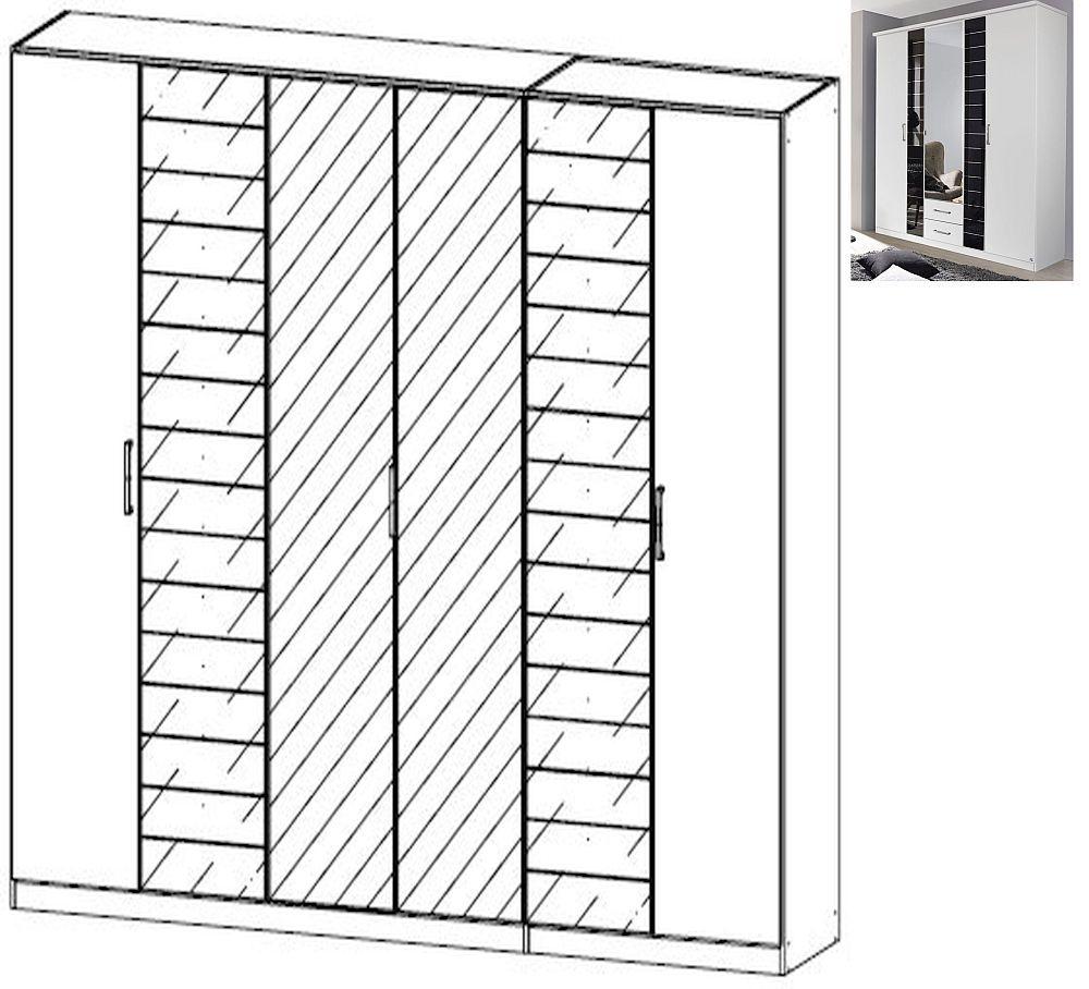 Rauch Terano 6 Door 2 Glass Door 2 Mirror Wardrobe with Cornice in Alpine White and Basalt Glass - W 271cm