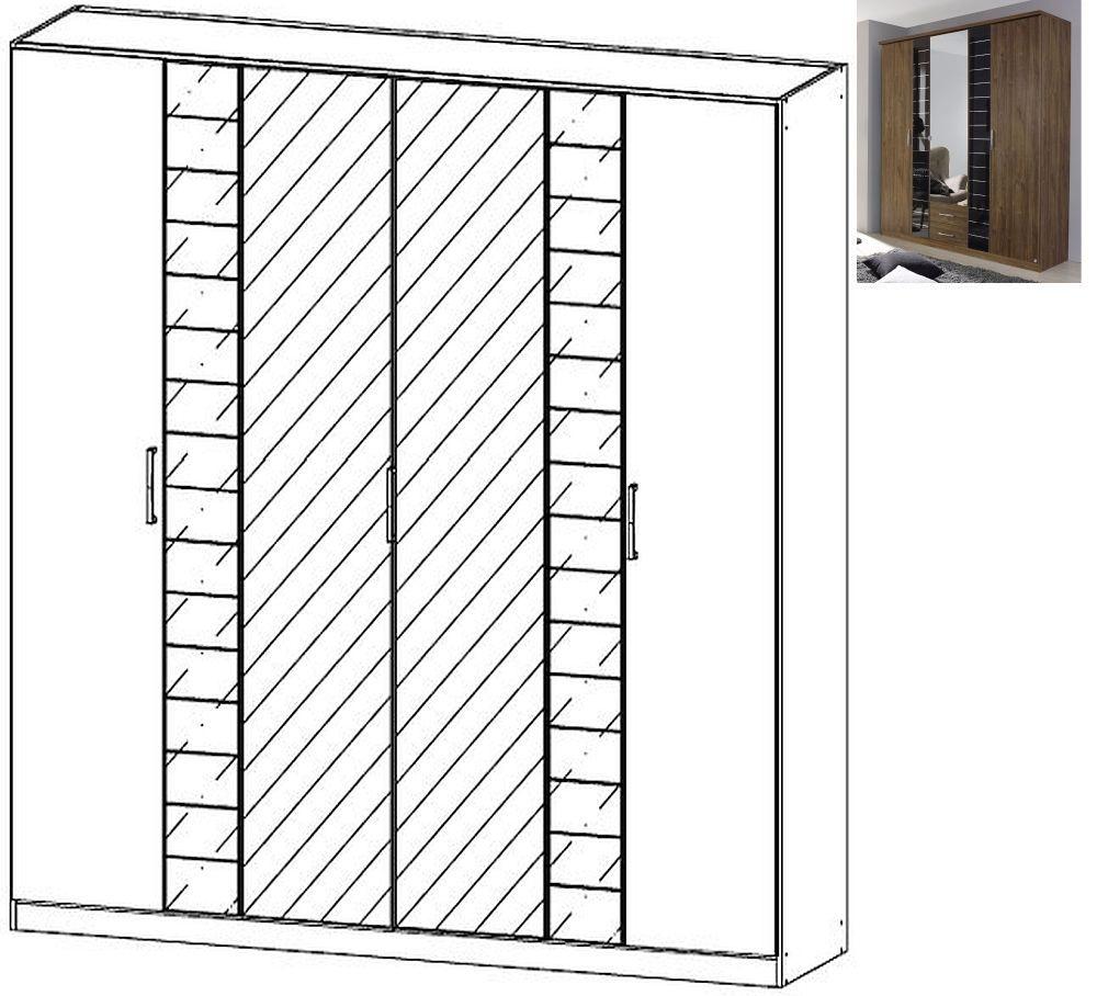Rauch Terano 6 Door 2 Glass Door 2 Mirror Wardrobe with Cornice in Stirling Oak and Basalt Glass - W 226cm