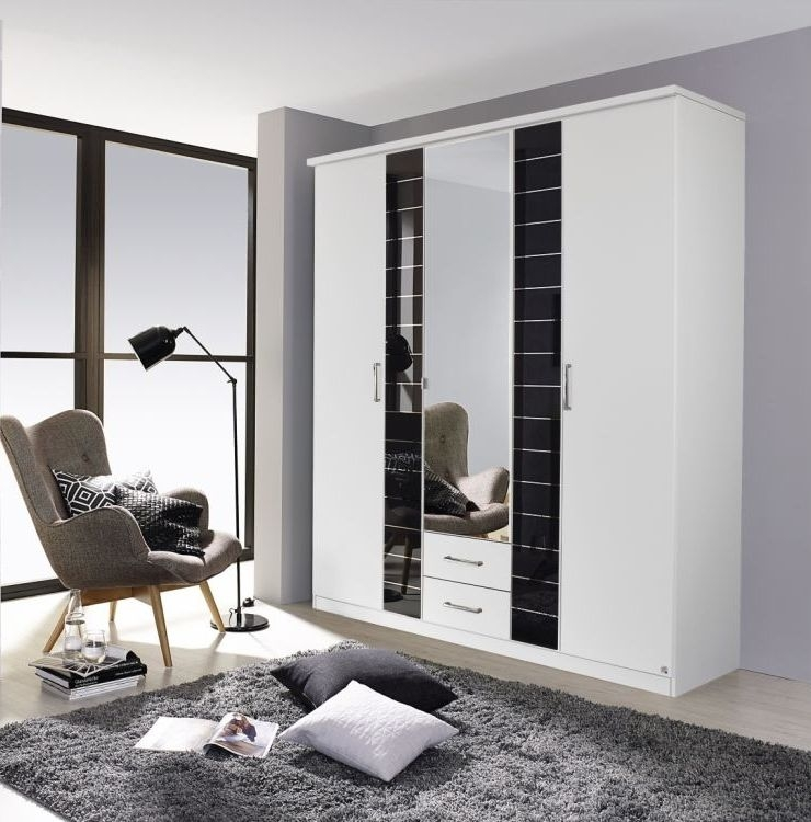 Rauch Terano 5 Door 2 Drawer 1 Mirror Wardrobe in Alpine White and Basalt Glass Overlay - W 181cm
