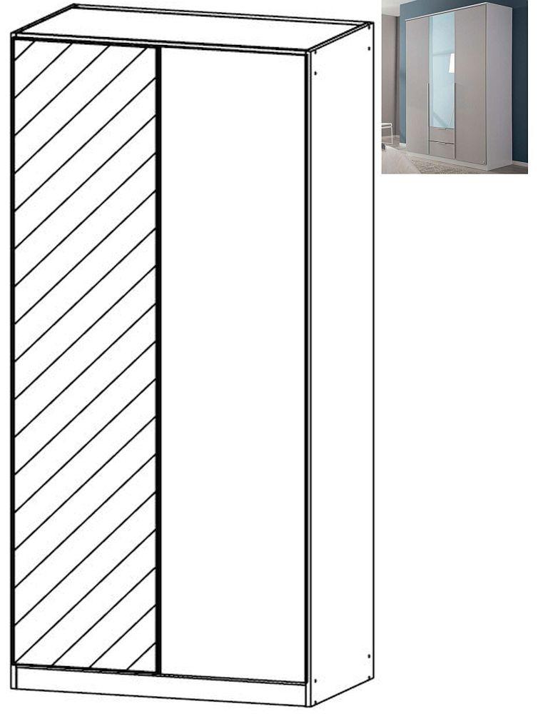 Rauch Texas 2 Door 1 Mirror Wardrobe with Cornice in Silk Grey - W 91cm