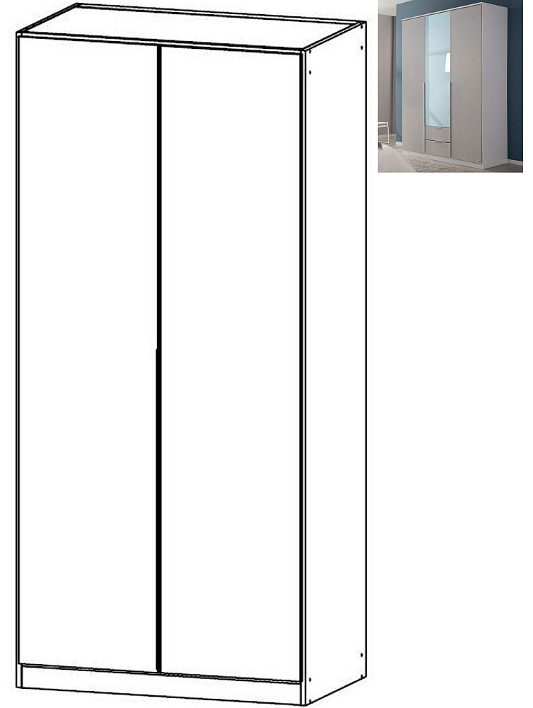Rauch Texas 2 Door Wardrobe with Cornice and Internal Shelves in Silk Grey - W 91cm
