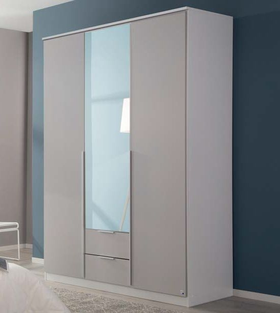 Rauch Texas 3 Door 1 Mirror 2 Drawer Combi Wardrobe with Cornice in Silk Grey - W 136cm