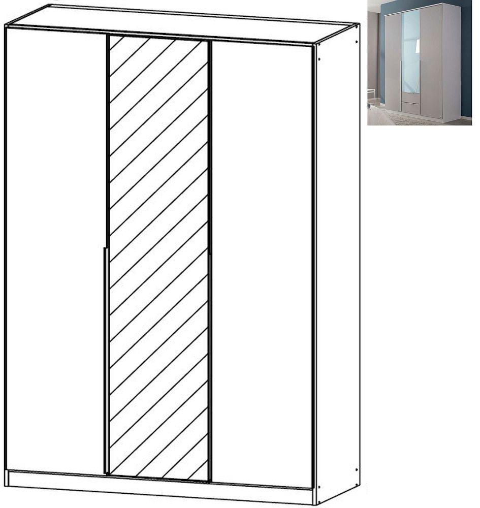 Rauch Texas 3 Door 1 Mirror Wardrobe with Cornice in Silk Grey - W 136cm