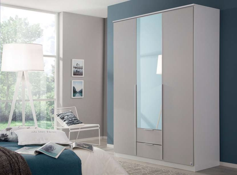 Rauch Texas 3 Door Combi Wardrobe in Silk Grey - W 136cm