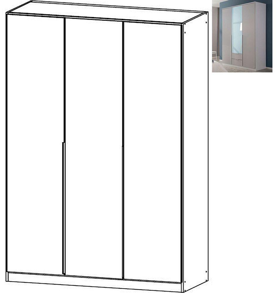 Rauch Texas 3 Door Wardrobe with Cornice in Silk Grey - W 136cm