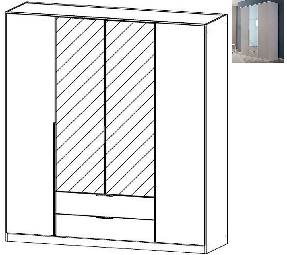 Rauch Texas 4 Door 2 Mirror 2 Drawer Combi Wardrobe with Cornice in Silk Grey - W 181cm