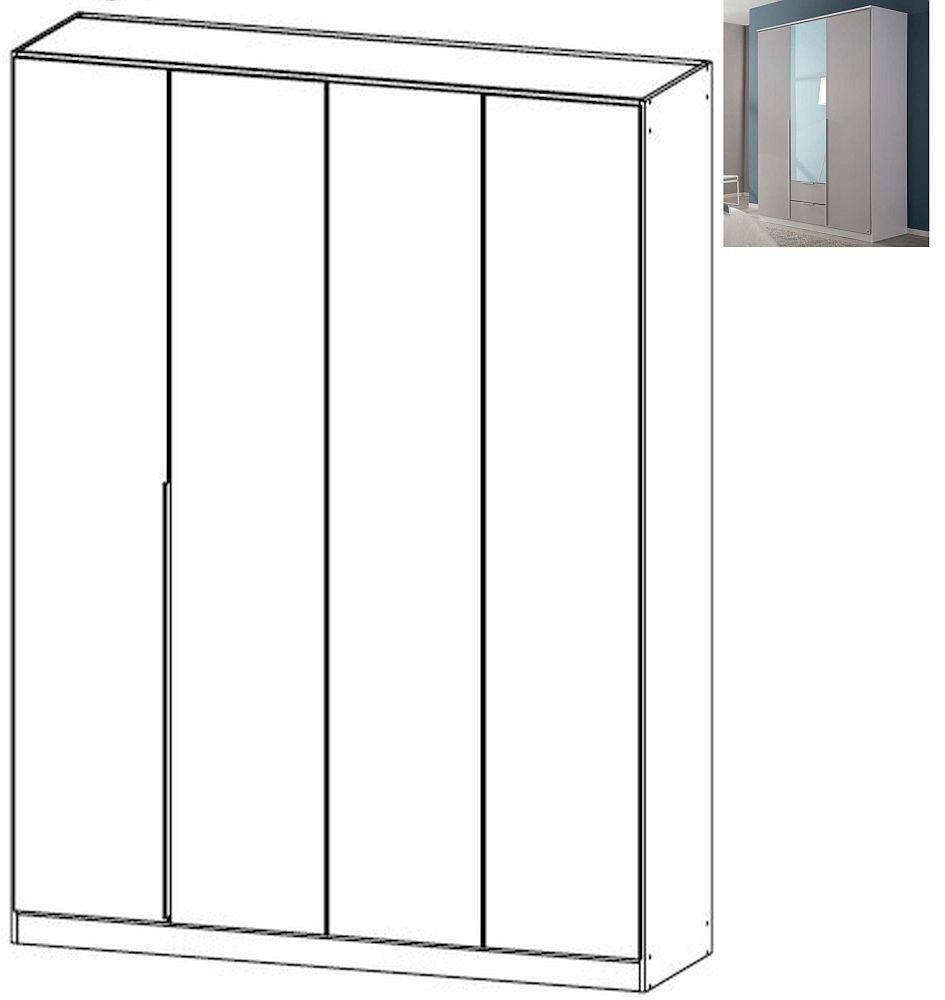 Rauch Texas 4 Door Wardrobe with Cornice in Silk Grey - W 181cm