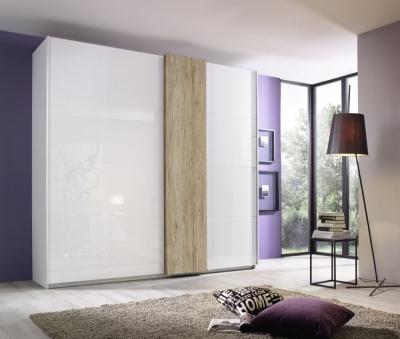 Rauch Tura 2 Glass Door Sliding Wardrobe in Alpine White - W 225cm
