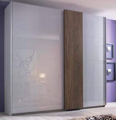 Rauch Tura 2 Glass Door Sliding Wardrobe in Silk Grey - W 181cm