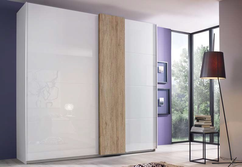 Rauch Tura 2 Door Sliding Wardrobe in White and Oak - W 226cm