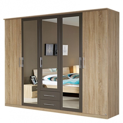 Rauch Valence Extra 5 Door Mirror Combi Wardrobe with Cornice in Oak and Lava Grey - W 226cm