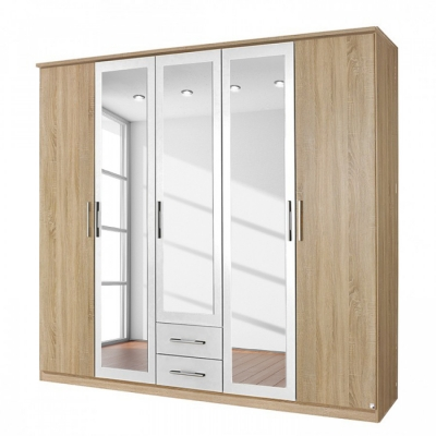 Rauch Valence Extra 5 Door Mirror Combi Wardrobe with Cornice in Oak and White - W 226cm