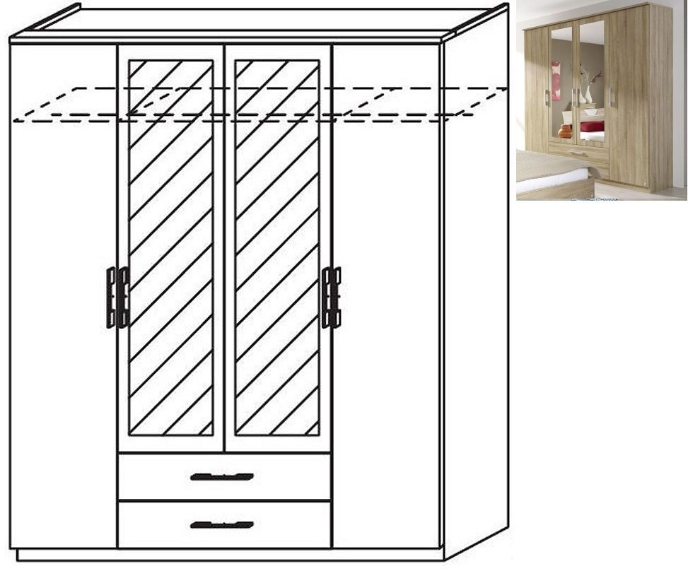 Rauch Valence-Extra 4 Door 2 Mirror 2 Drawer Combi Wardrobe with Cornice in Sonoma Oak - W 181cm