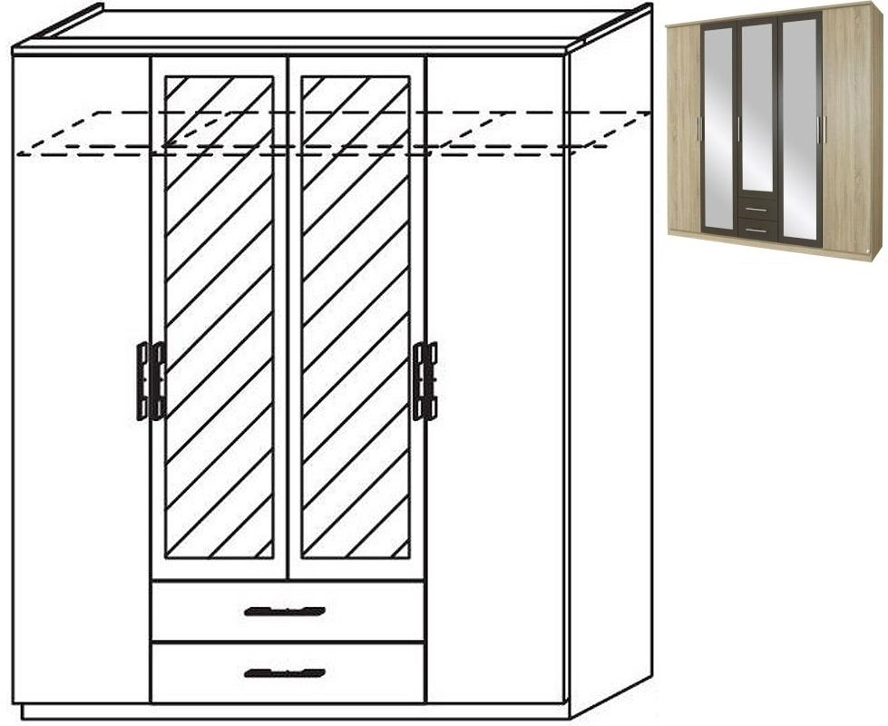 Rauch Valence-Extra 4 Door 2 Mirror 2 Drawer Combi Wardrobe with Cornice in Sonoma Oak and Lava Grey - W 181cm