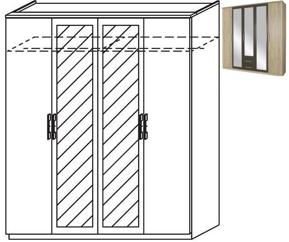 Rauch Valence-Extra 4 Door 2 Mirror Wardrobe with Cornice in Sonoma Oak and Lava Grey - W 181cm