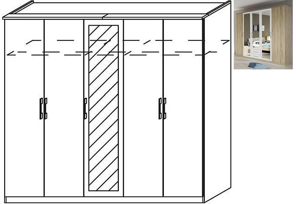 Rauch Valence-Extra 5 Door 1 Mirror Wardrobe with Cornice in Sonoma Oak and Alpine White - W 226cm